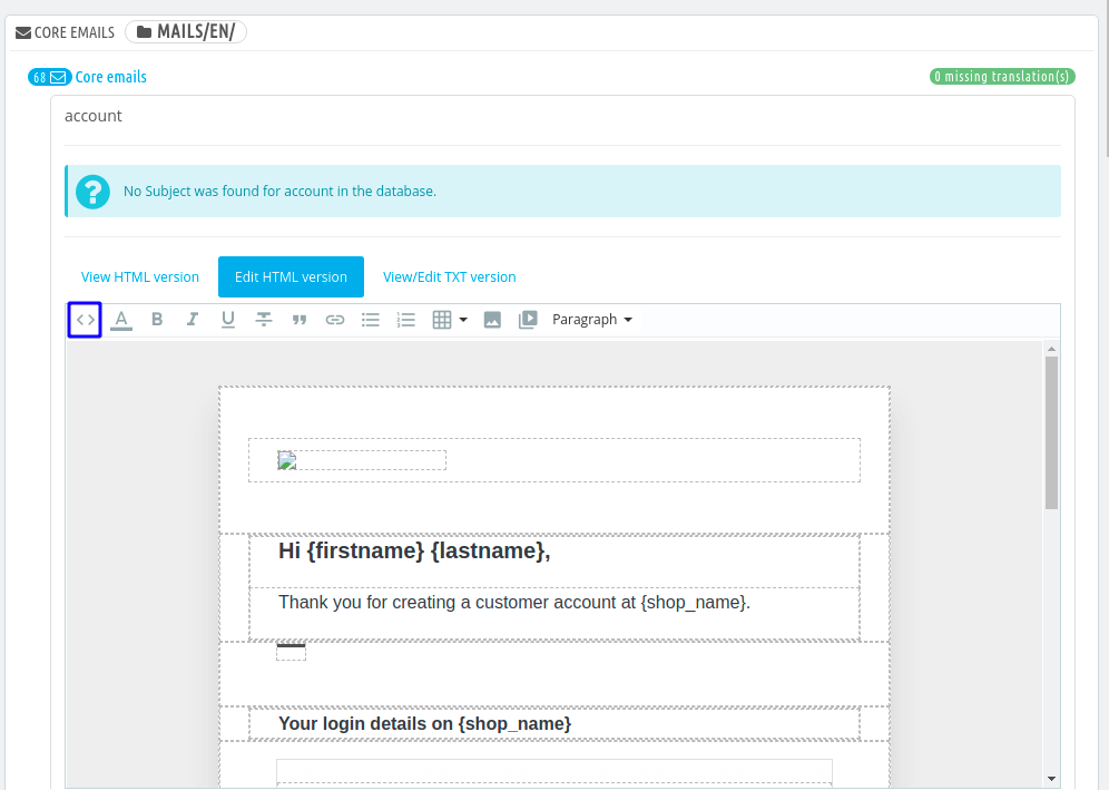 prestashop email templates edit