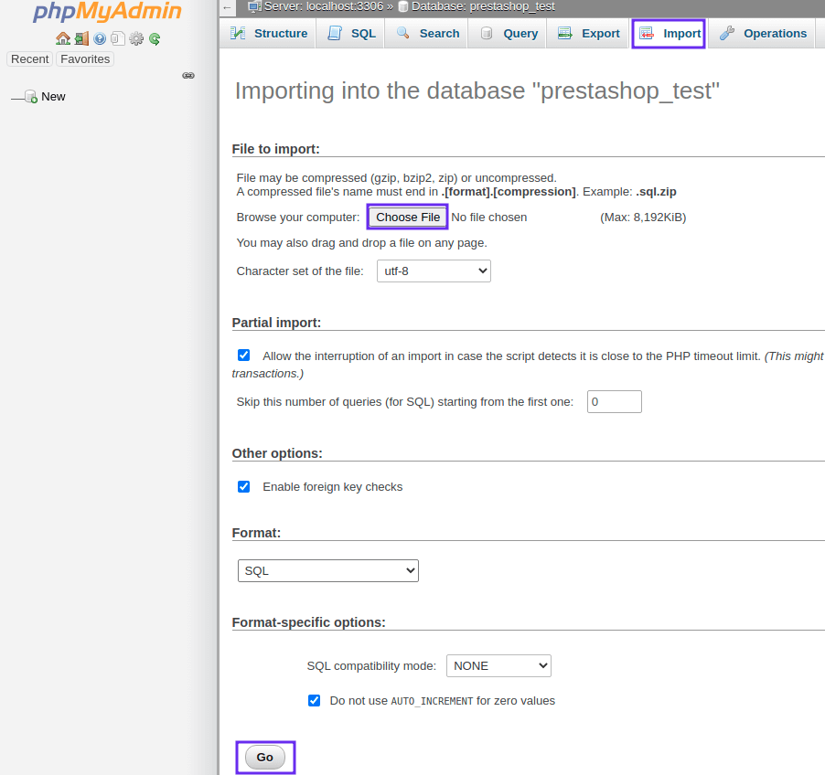 move Prestashop from localhost to server